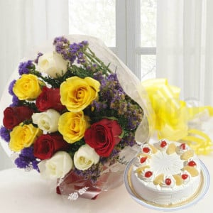 12 Mix Roses with Cake - Online Flowers Delivery In Kalka