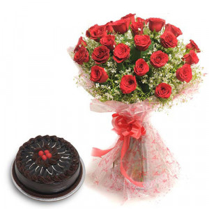 Roses N Chocolaty Love - Flowers and Cake Online