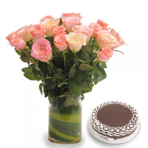 Vase N Pink Roses - Rose Day Gifts Online