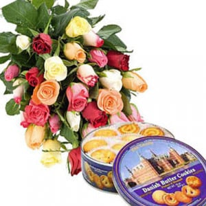 Mixed Roses N Cookies - Send Birthday Gift Hampers Online