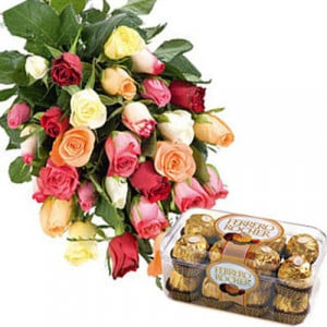 Mixed Roses N Ferro - Send Birthday Gift Hampers Online