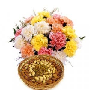 Spectrum Basket - Buy Flowers with Dry Fruits Online in India