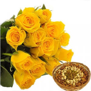 Mom Day Bunch - Buy Flowers with Dry Fruits Online in India