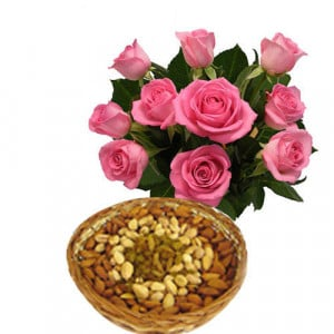 Pink loves - Buy Flowers with Dry Fruits Online in India