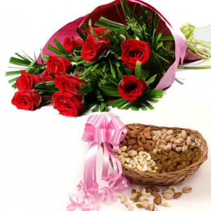 Mom's Beauty - Buy Flowers with Dry Fruits Online in India