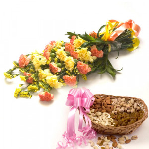 Bunch of Best Wishes - Buy Flowers with Dry Fruits Online in India