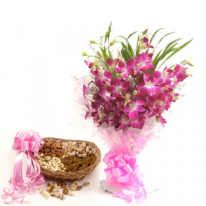 Perfect Elegance - Buy Flowers with Dry Fruits Online in India
