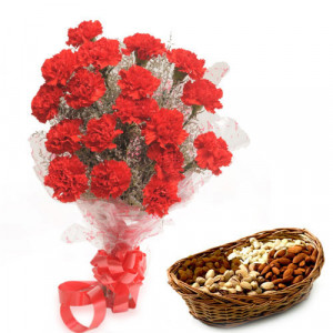 Red Carnival - Buy Flowers with Dry Fruits Online in India