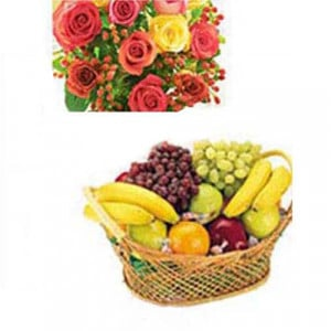 Fresh Fruits N Roses - Birthday Gifts - Flowers with fresh fruits online