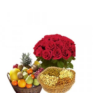 Elegant Fare Gift - Flowers with fresh fruits online