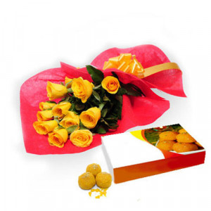 Roses N Motichur Laddu - Flowers with Sweets Online
