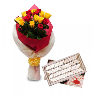 Roses N Kaju Katli - Rose Day Gifts Online