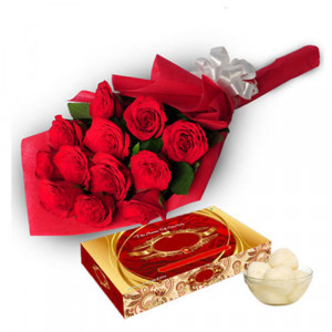 Roses with Rasgulla - Flowers with Sweets Online