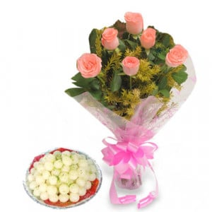 Roses N Rasgulla - Flowers with Sweets Online