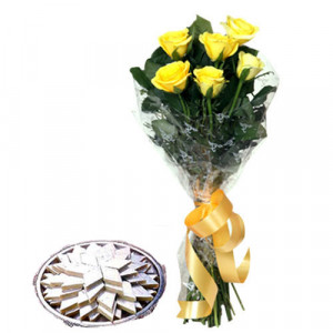 Yellow Roses N Kaju Katli - Flowers with Sweets Online