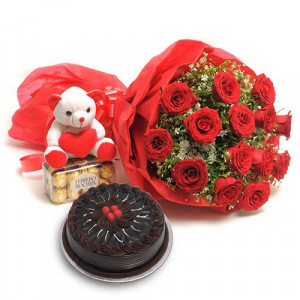 Sweet Love Teddy - Flowers with Soft Toys online