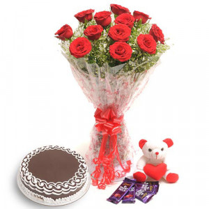 Flower Cake Hampers - Flowers with Soft Toys online