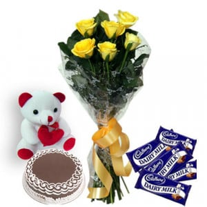 Roses N Choco Hampers - Flowers with Soft Toys online