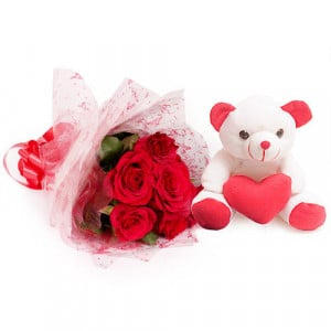 Flowerly Fluffily Yours - Birthday Gifts - Flowers with Soft Toys online