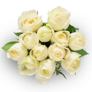 Always And Forever 12 White Roses - Send Valentine Gifts for Husband