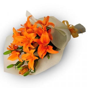 Bright Side Of Life 6 Orange Lilies - Marriage Anniversary Gifts Online
