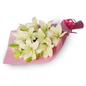 My Angel 6 White Lilies - Send Lilies Online India