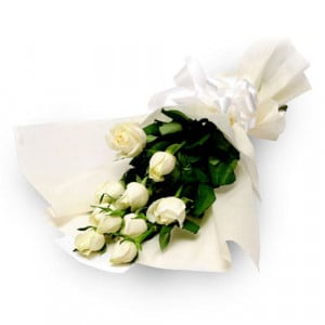 Purity 10 White Roses - Send Midnight Delivery Gifts Online