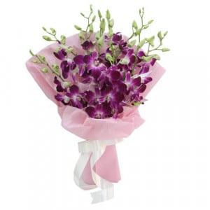 Exotic Beauty 9 Purple Orchids - Marriage Anniversary Gifts Online