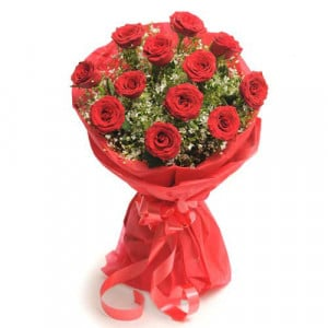 12 Red Roses - Send Flowers to Barnala | Online Cake Delivery in Barnala