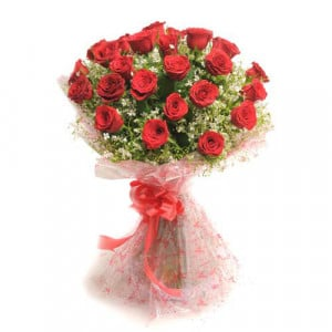Rosy Romance 25 Red Roses - Marriage Anniversary Gifts Online