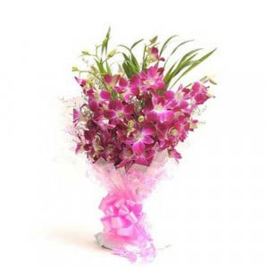 Perfect N Elegance 6 Purple Orchids - Send Birthday Gift Hampers Online
