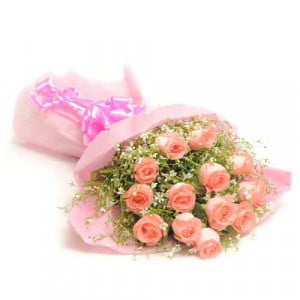 Fresh Blush 12 Pink Roses - Send Birthday Gift Hampers Online