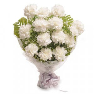 Stary 12 White Carnations - Marriage Anniversary Gifts Online