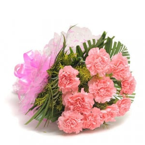 12 Pink Carnations - Marriage Anniversary Gifts Online