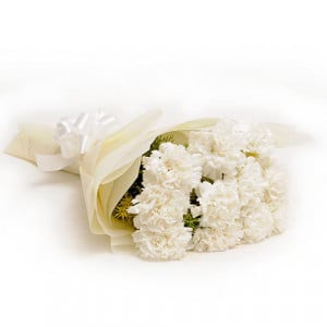 12 White Carnations - Marriage Anniversary Gifts Online