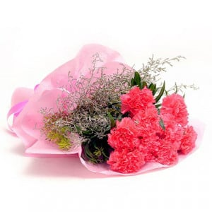 Pink Carnations N Love - Send Midnight Delivery Gifts Online