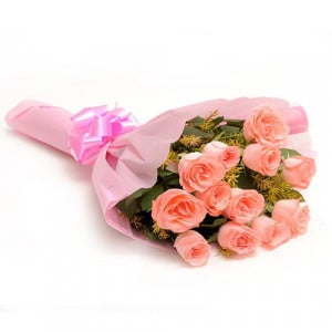 12 Baby Pink N Roses - Marriage Anniversary Gifts Online