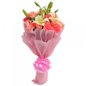 Carnations N Lilies - Send Lilies Online India