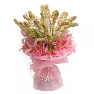 Tube Roses n Lilies - Marriage Anniversary Gifts Online