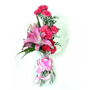 Carnations N Lilies - Send Midnight Delivery Gifts Online