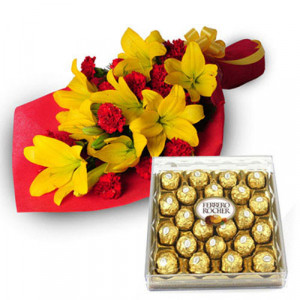 Exotic Hamper - Valentine's Day Flowers and Chocolates