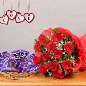 Basket of Happiness - Valentine's Day Flowers and Chocolates