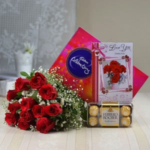 Chocolaty Romance - Valentine's Day Flowers and Chocolates