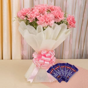 Carnations Love Combo - Valentine's Day Flowers and Chocolates