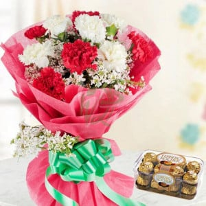 Chocolaty Red N White - Valentine's Day Flowers and Chocolates