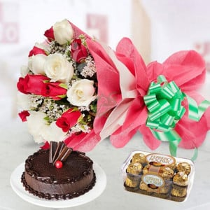 Jingle Bells - Wedding Anniversary Bouquet with Cake Delivery