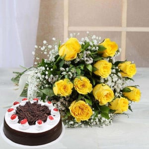 Perfect Combo To Gifts - Birthday Cake and Flowers Delivery
