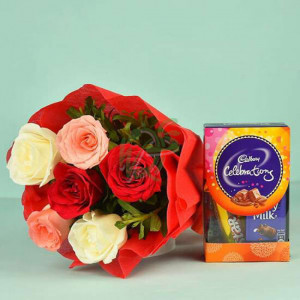 Colourful Roses Bouquet N Cadbury Celebrations - Valentine's Day Flowers and Chocolates