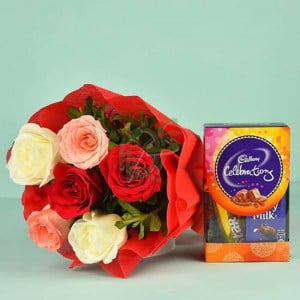 Colourful Roses Bouquet N Cadbury Celebrations - Wedding Anniversary Bouquet with Cake Delivery