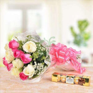 Rocher N Roses Combo - Send Flowers and Chocolates Online